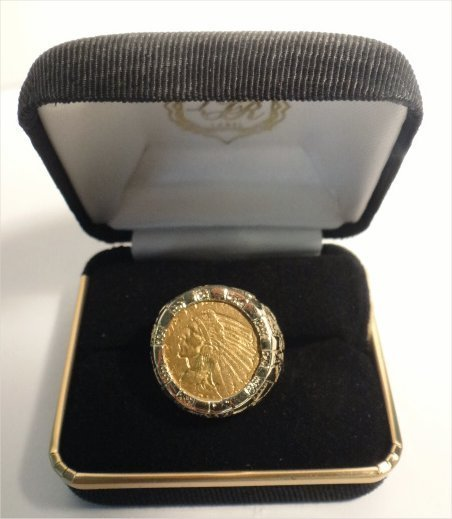 14K INDIAN HEAD COIN RING (US$2.50 GOLD PIECE)