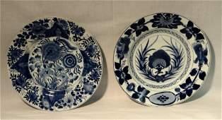 2 ORIENTAL BLUE  WHITE PLATES 10 12 DIAM