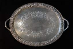 KIRK DOUBLED HANDLED STERL SILVER TRAY