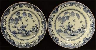 PR OF 18THC ORIENTAL BLUE  WHITE PLATES