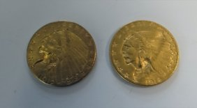 2- $ 2 1/2 Gold Pieces W/ Indian Heads 1912 & 1914