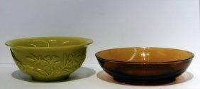 "2 Peking Glass Bowls : 6 1/8"" Yellow Bowl & Amber"