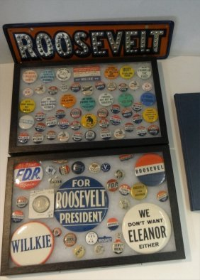 Fdr & Eleanor Related Campaign Pins & Book