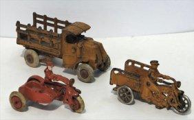 3 Cast Iron Toys:crash Car, Stake Truck &