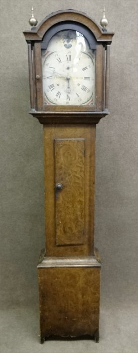 Riley Whiting Tall Case Clock In Orig Grain Paint