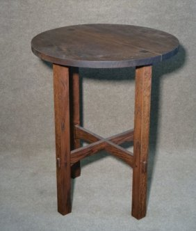Mission Oak Lamp Table, Style Of Gustav Stickley