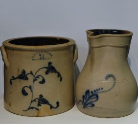 Decorated Stoneware Pitcher & Crock