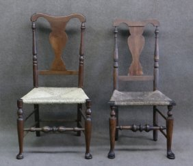 2 Upper Hudson Valley Duck Foot Chairs, 18thc.