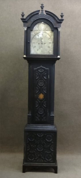 George Iii Tall Case Clock W/ Inlaid Carved Case
