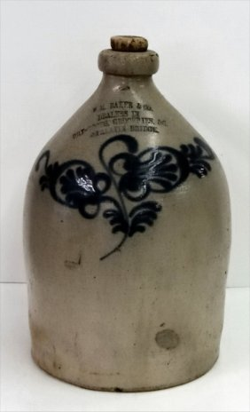 Cobalt Decorated Stoneware Grocers Jug
