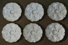 "Set Of 6 Limoges Oyster Plates 9"" Diam"