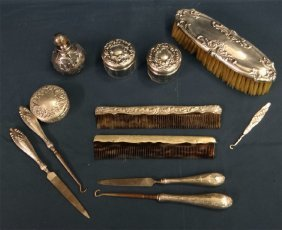 12 Pc Sterling Dresser Set: Scent Bottle, Brush,