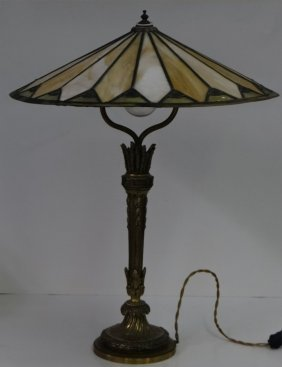 French Dore Bronze Lamp Base & Parasol Lead Shade