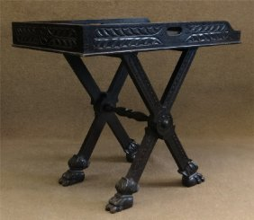 C.1930 Butler's Bar Or Tray Stand, Carved