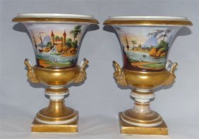 Pr Hand Painted Old Paris Porcelain Classical Urns