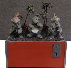 German Coin Operated 3 Monkey Band Automoton
