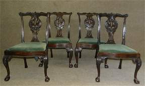 SET OF 4 PERIOD NY CHIPPENDALE CHAIRS