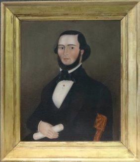 19thc. Amer. School Portrait Attrib. To Ruth Shute