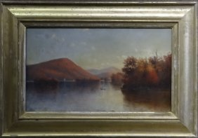 "O/c ""sunset On Lake George"" F.w. Dewitt"
