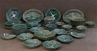 ASSEMBLED GROUP OF PORTUGESE CABBAGE LEAF MAJOLICA