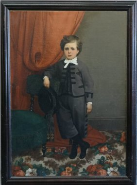 O/c Full Length 19thc. Portrait Of A Young Boy