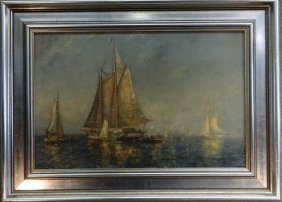 "O/bd ""gloucester Fishing Boat"" Sgnd F.leo Hunter"