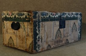 """Wallpaper Covered Chest 11 1/2"""" X 26 3/4"""" X 13 3/4"""