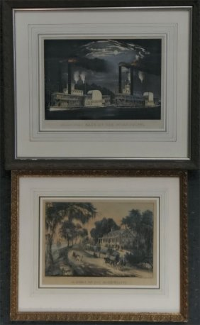 "2 Small Folio Currier & Ives ""home On The"