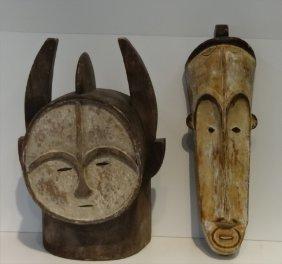 "2 African Gold Coast Masks 22"" & 20"""
