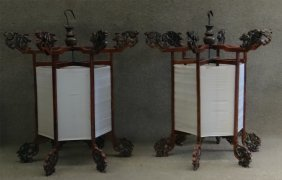 Pr Of Wooden Frame Chinese Palace Candle Lanterns
