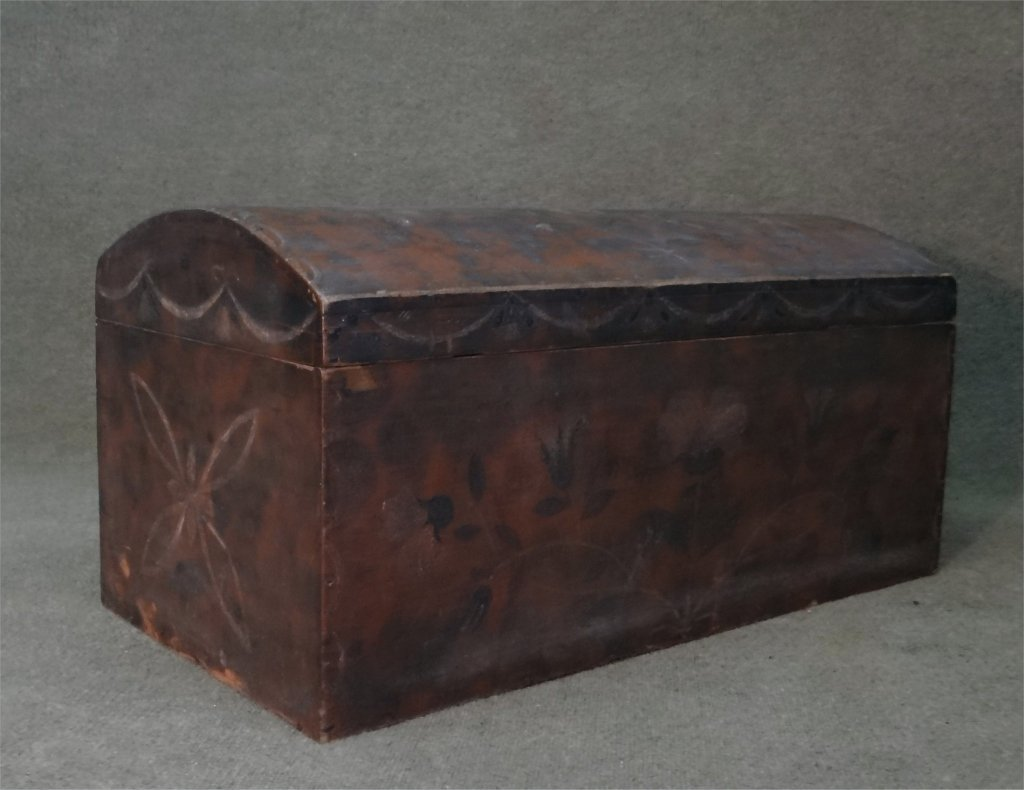 PAINT DECORATED DOMW TOP STORAGE BOX C. 1840 - 4