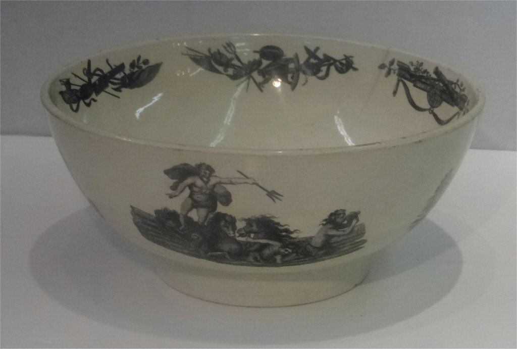 RARE LIVERPOOL TRANSFER DECORATED PUNCH BOWL