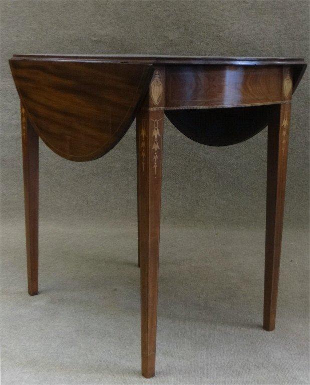 "31"" INLAID HEPPLEWHITE BOWED END PEMBROKE TABLE"