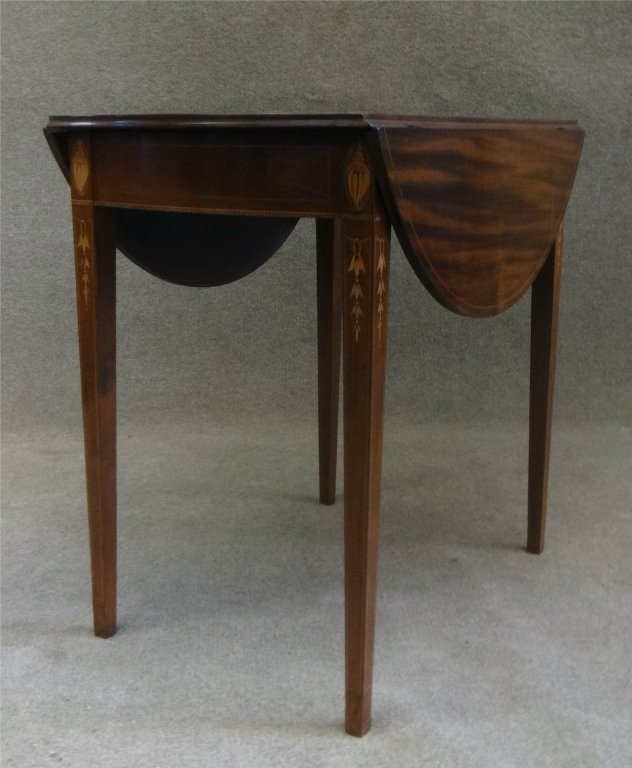 "31"" INLAID HEPPLEWHITE BOWED END PEMBROKE TABLE - 2"