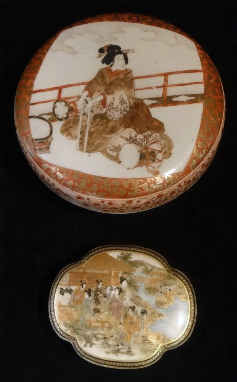 2 ORIENTAL PORCELAIN COVERED BOXES