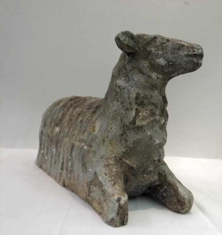 19THC. FOLK CARVED WOODEN SHEEP - 4