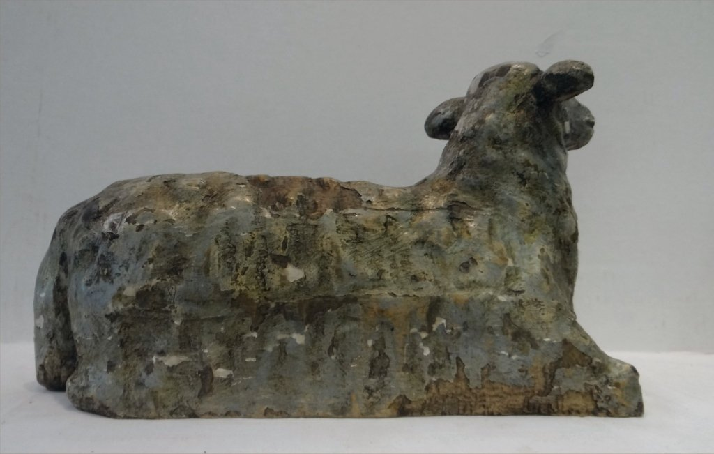 19THC. FOLK CARVED WOODEN SHEEP - 6