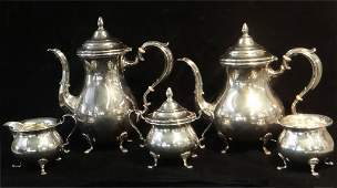 5 PC STERLING SILVER COFFEE & TEA SET