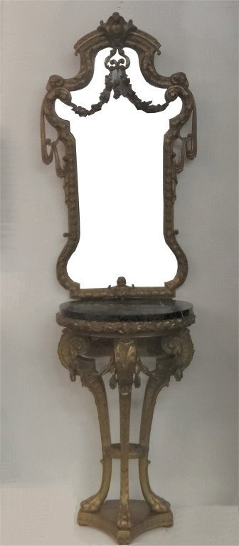 ENTRANCE HALL DEMI LUNE MARBLE TOP TABLE & MIRROR
