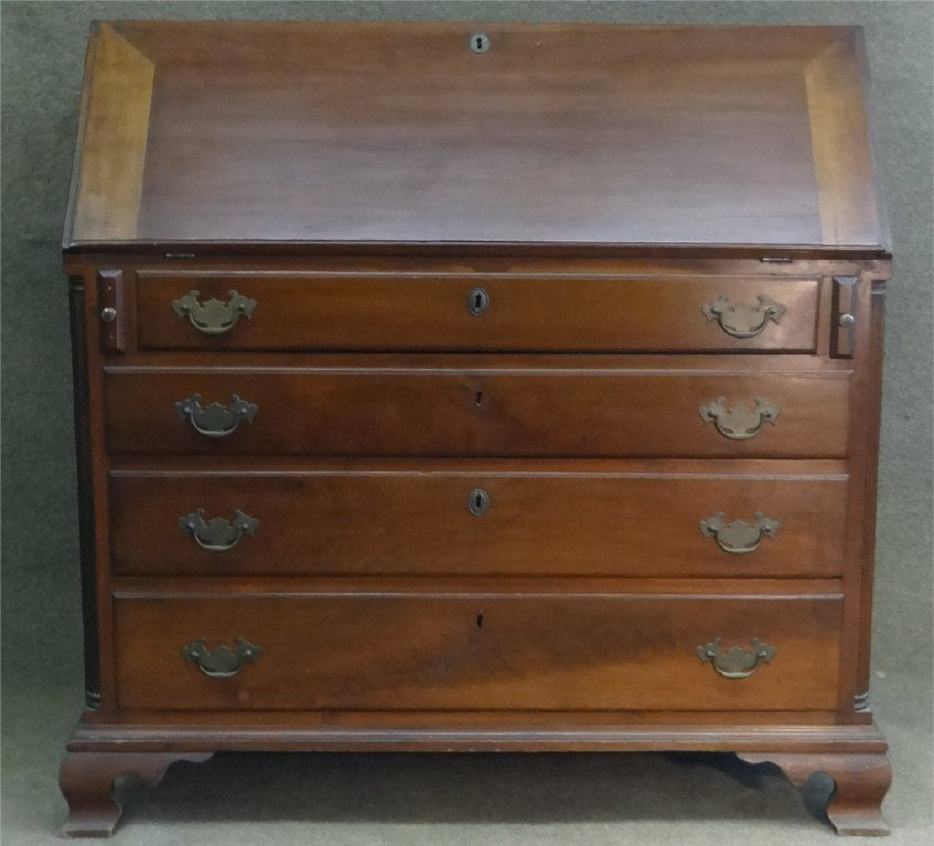 CHERRY & WALNUT SLANT LID DESK  C.1800