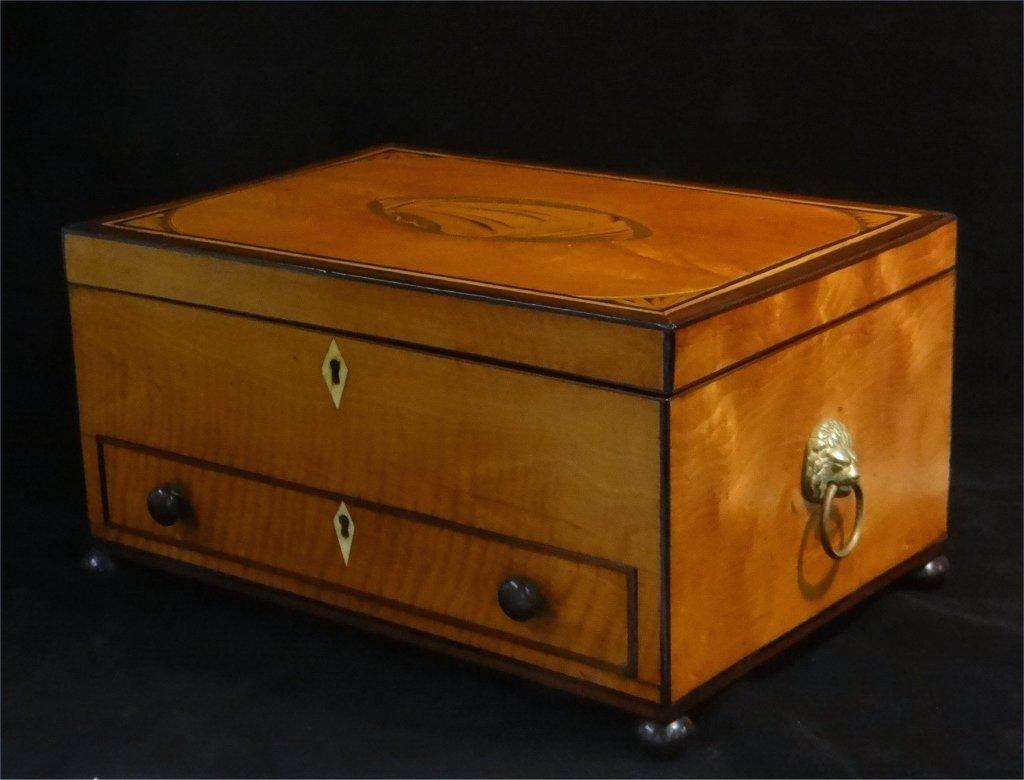 INLAID SATINWOOD BOX W/ HINGED LID & DRAWER - 2