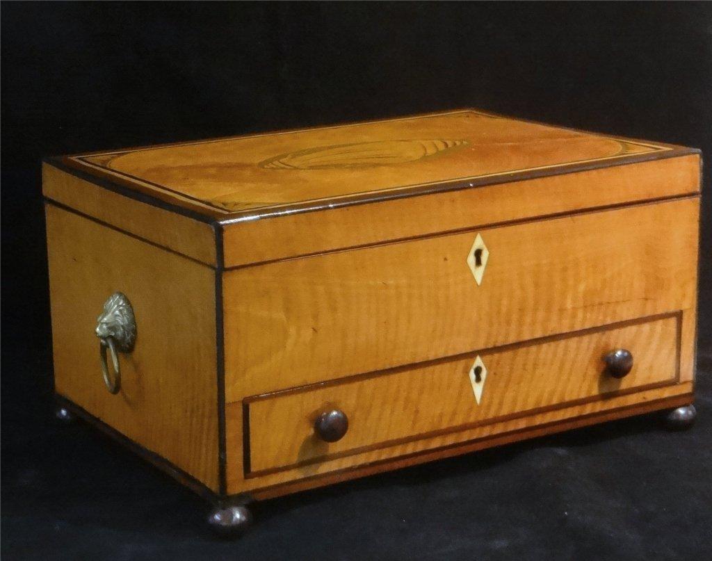 INLAID SATINWOOD BOX W/ HINGED LID & DRAWER - 3