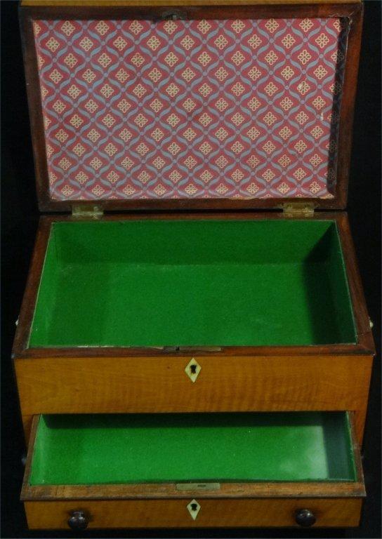 INLAID SATINWOOD BOX W/ HINGED LID & DRAWER - 5
