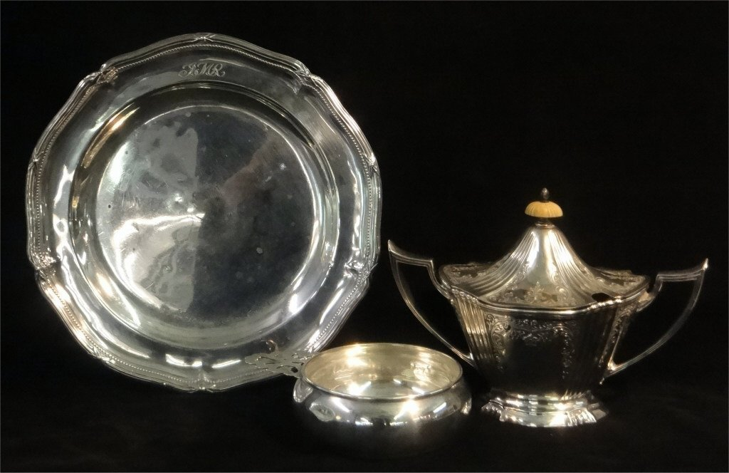 NY STERLINGG SILVER PLATE,GORHAM SUGAR & PORRINGER