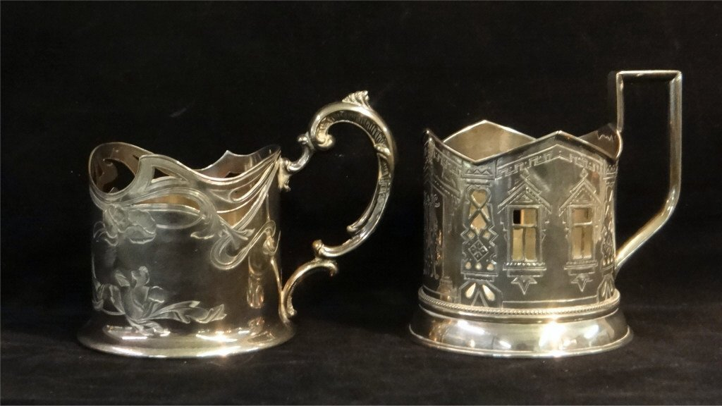 2 RUSSIAN SILVER CUP HOLDERS: MARKED 84 HK & 84 AH