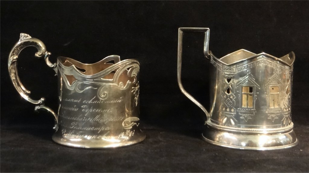 2 RUSSIAN SILVER CUP HOLDERS: MARKED 84 HK & 84 AH - 2