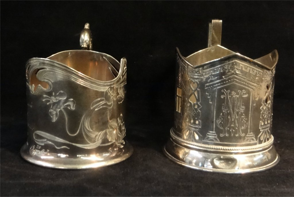 2 RUSSIAN SILVER CUP HOLDERS: MARKED 84 HK & 84 AH - 3