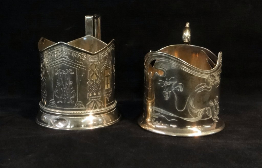 2 RUSSIAN SILVER CUP HOLDERS: MARKED 84 HK & 84 AH - 4