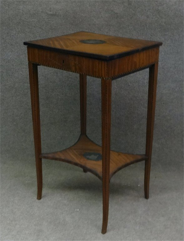 SATINWOOD INLAID LADIES WORK STAND W/ LIFT LID