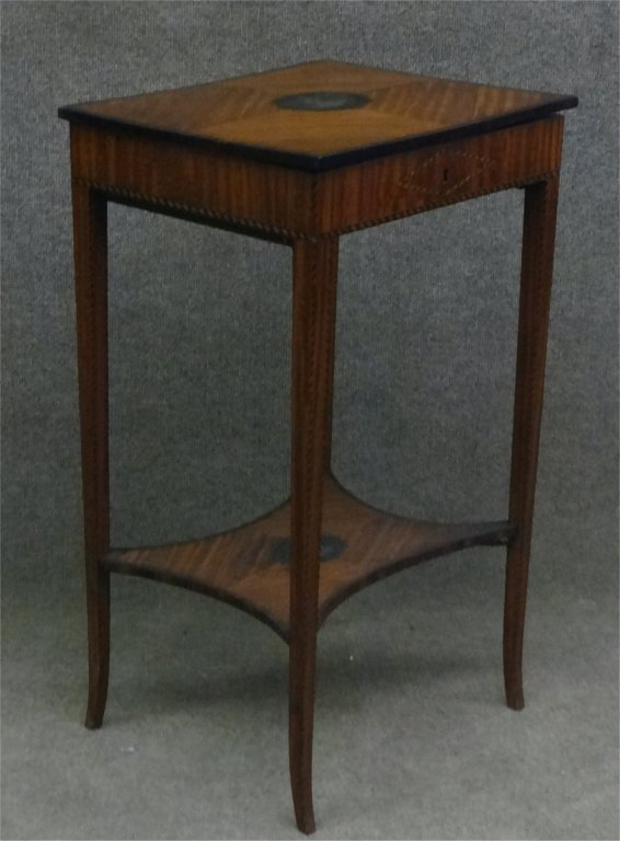 SATINWOOD INLAID LADIES WORK STAND W/ LIFT LID - 2